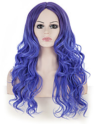 Black Friday Discount 24Long Curly Wavy Women Festival Christmas Hair Wig Blue Synthetic Wigs