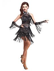 Dança Latina Vestidos Mulheres Actuação Elastano Lantejoulas / Borla(s) 1 Peça Sem Mangas Alto Vestidos 76-86cm