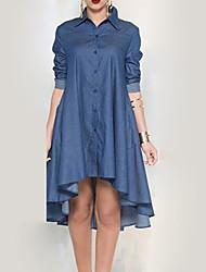 Women's Casual/Daily Simple Denim Dress,Solid Shirt Collar Knee-length Long Sleeve Blue Rayon Fall Mid Rise Micro-elastic Medium