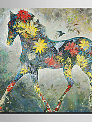 Mini Size E-HOME Oil painting Modern Color Pattern of Horses Pure Hand Draw Frameless Decorative Painting