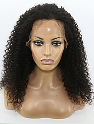 Natural Black Color Kinky Curly Hairstyle Brazilian Virgin Human Hair Lace Front Wig With Baby Hair