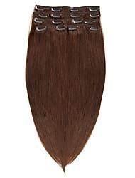 clipe na Remy do Virgin extensões de cabelo humano # 4 marrom 70g 14-20inch 22inch 100g
