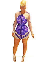 Women's Casual/Daily / Party/Cocktail / Club Sexy A Line Dress,Animal Print Round Neck Above Knee Long Sleeve Purple Polyester SpringMid
