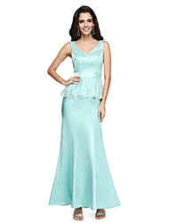 Mermaid / Trumpet V-neck Ankle Length Lace Charmeuse Bridesmaid Dress with Sash / Ribbon by LAN TING BRIDE®