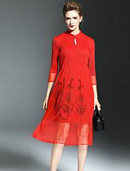 Gaine Robe Femme Décontracté / Quotidien simple,Couleur Pleine Mao Midi ½ Manches Bleu Rouge Jaune Polyester Automne Taille NormaleNon
