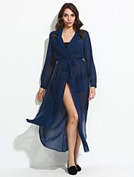 Feminino Bainha Vestido,Casual Moda de Rua Sólido Decote em V Profundo Longo Manga Longa Azul / Verde Raiom Outono Cintura AltaSem