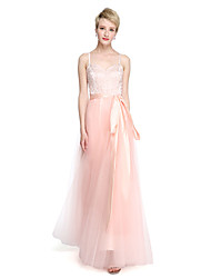 Floor-length Spaghetti Straps Bridesmaid Dress - Beautiful Back Sleeveless Tulle Stretch Satin