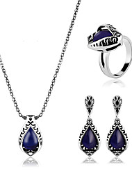 Jewelry Set Sapphire Gem Alloy Classic Blue Party Daily Casual 1set 1 Necklace 1 Pair of Earrings Rings Wedding Gifts
