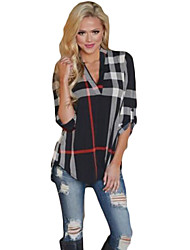 Women's Casual/Daily Simple Spring Fall T-shirt,Geometric V Neck Long Sleeves Cotton Medium