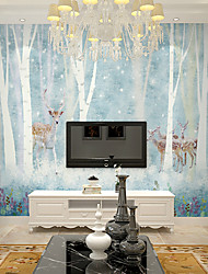 JAMMORY Art DecoWallpaper For Home Wall Covering Canvas Adhesive required Mural Children's Room Cartoon Blue Forest Elk Guest XL XXL XXXL