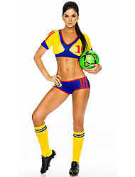 Women Sexy Football Cheerleader Uniform High School Cheering Squad Costumes Solid Top / Shorts