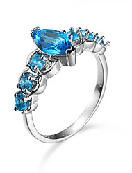 Natural blue Rings For Women Platinum Plated Channel setting Engagement Wedding female FashionJewelry