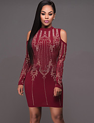 Women's Casual/Daily / Club Vintage / Street chic Bodycon Hot Fix Rhinestone DressColor Block Crew Neck Above Knee Long Sleeve