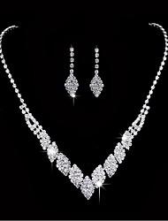 Cristal Brillante Plateado Legierung Plata 1 Collar 1 Par de Pendientes Para Boda Fiesta 1 Set Regalos de boda