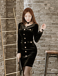 2016 Korean version of the new women's gold velvet long-sleeved round neck Slim temperament was thin fashion dress