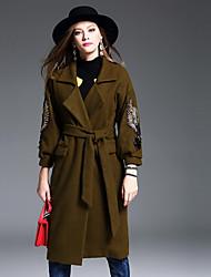 Feminino Casaco Casual Simples Inverno, Estampa Animal Verde Lã / Poliéster Colarinho de Camisa-Manga ¾ Grossa