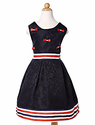 Girl's Going out Casual/Daily Striped Color Block Jacquard Dress,Cotton Polyester All Seasons Sleeveless