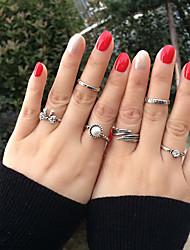 Anéis Halloween Diário Casual Jóias Liga Feminino Anéis Meio Dedo Anel 1 Conjunto,8 Prateado