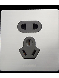 Two Pack Sell Wall Switch Socket Panel Stainless Steel Brushed Silver Five-Hole Socket Panel