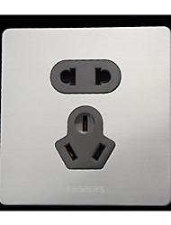 dos componentes de acero inoxidable Panel de enchufes de la pared de la venta cepillado panel de conexión de cinco orificios de plata
