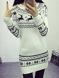 Women's Korea Style Print White / Gray Slim Pullover , Casual / Cute Long Sleeve