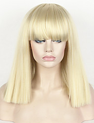 Fashion Wig Women's Short Bob Kinky Straight Full Bangs Synthetic Hairpieces 14 Blonde Cosplay wig
