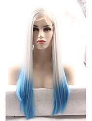 Synthetic Lace Front Wigs Blonde to Blue Hair Ombre Silky Striaight Synthetic Wigs Cosplay Wigs