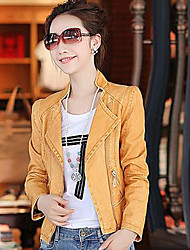 Women's Going out Sexy Jackets,Solid Round Neck Long Sleeve Fall Blue / Black / Yellow PU Medium