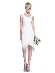 2017 Lanting Bride® Asymmetrical Chiffon Open Back / Elegant Bridesmaid Dress - Sheath / Column V-neck with Sash / Ribbon / Pleats