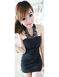 Women's Going out Cute Bodycon Dress,Solid Strapless Mini Sleeveless Red / Black Cotton Summer Low Rise Micro-elastic Medium