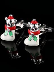Natal meias filhotes abotoaduras natal manguito botões presentes de natal mangas dos homens de modelagem dos homens interessantes com