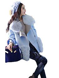 Women's Casual/Daily Simple Fur Coat,Solid Shirt Collar Long Sleeve Fall Blue Fox Fur Medium