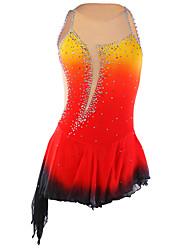 Robe de Patinage Femme Sans manche Patinage Jupes & Robes Robe de patinage artistique Compression Paillété Spandex Elasthanne RougeTenue