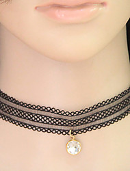 Women's Choker Necklaces Collar Necklace Gemstone Lace Round Vintage Fashion Black Jewelry Party Daily 1pc