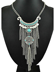 Fashion Tassel Exaggerated Short Silver Color Coin Necklace Women Turkish Indian Ethnic Necklaces & Pendants for Women