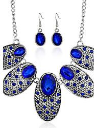 Ensemble de bijoux Aigue-marine Imitation Rubis Gemme Imitation de diamant Alliage Rouge Bleu Soirée Quotidien Décontracté 1set1 Collier