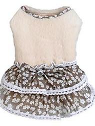 Chien Robe Beige Vêtements pour Chien Hiver / Printemps/Automne Princesse Décontracté / Quotidien