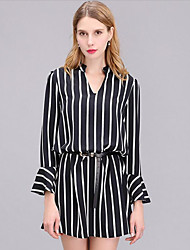 Women's Casual/Daily Simple Loose Dress,Striped Deep V Above Knee Long Sleeve Black Polyester Fall Mid Rise Micro-elastic Medium