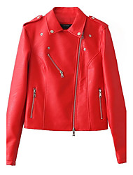 Women's Going out / Casual/Daily Simple / Street chic Leather Jackets,Solid Peaked Lapel Long Sleeve Fall / Winter Red / BlackRayon /