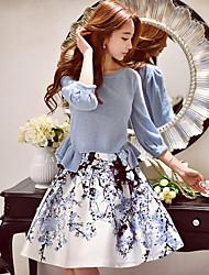 dabuwawa женские цветочные / цвет блока юбки, милый / уличный шик / изощренными длиной до колен