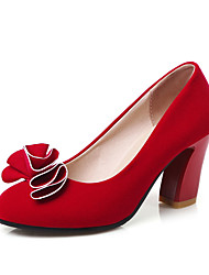Damen-High Heels-Büro Kleid Lässig-Kunstleder-BlockabsatzSchwarz Rot