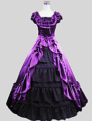 Outfits Gothic Lolita Victorian Cosplay Lolita Dress Purple Solid Short Sleeve Ankle-length Tuxedo For Women Charmeuse