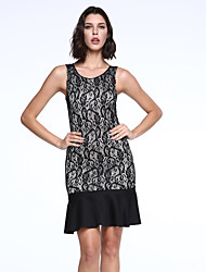 Women's Sexy / Simple Jacquard Bodycon / Trumpet/Mermaid Dress , Round Neck Knee-length Rayon