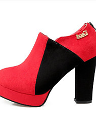 Women's Heels Spring Summer Other Customized Materials Dress Casual Chunky Heel Black Red Coffee