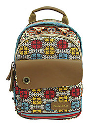 Casual Backpack Women Cowhide Canvas Multi-color