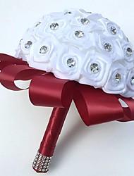 Hochzeitsblumen Rundförmig Rosen Sträuße Hochzeit Partei / Abend Satin Seide Strass