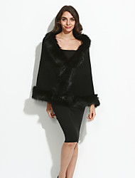 Women's Going out Vintage Cloak/Capes Long Sleeve Winter Blue Red White Black Faux Fur Medium