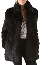 Women's Plus Size Going out Street chic Fur Coat,Solid Long Sleeve Winter Black Faux Fur Cotton Polyester Thick