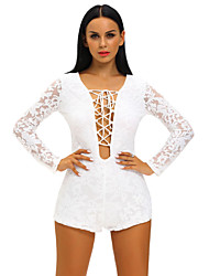 Women's Lace Long Sleeve Lace Up Front Playsuit