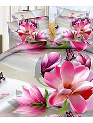 Novelty Duvet Cover Sets 4 Piece Cotton 3D Reactive Print Cotton Full 1pc Duvet Cover 2pcs Shams 1pc Flat Sheet